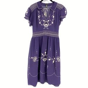 Lucky Brand Purple Embroidered Peasant Dress